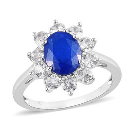 Tanzanian Blue Spinel and Natural Cambodian Zircon Halo Ring in Platinum Overlay Sterling Silver 3.8