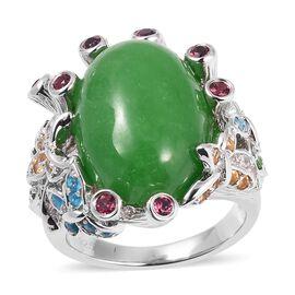 Green Jade (Ovl), Malgache Neon Apatite, Russion Diopside and multi Gemstone Ring in Rhodium Overlay
