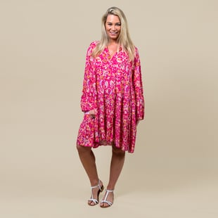 TAMSY Paisley Print Smock Dress One Size (Fits 8- 20) - Pink