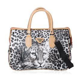 Leopard Pattern Travel Bag with Detachable Shoulder Strap and Zipper Closure (Size 40x27.5x16.5 Cm)
