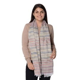 Wine and Multicolour Strip Pattern Scarf (Size 70x180 Cm)