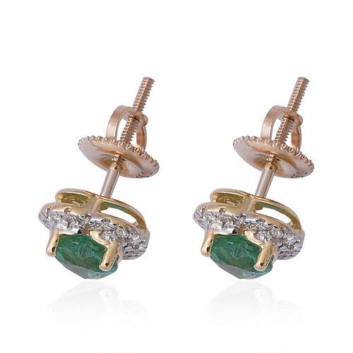 ILIANA 18K Yellow Gold AAA Kagem Zambian Emerald (Hrt), Diamond (SI/G-H) Stud Earrings (with Screw Back) 1.00 Ct.