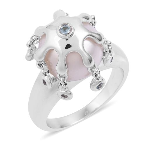LucyQ Pearl and Russian Diopside Splash Ring in Rhodium Plated Silver 7.84 Grams