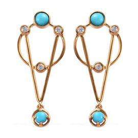 2.01 Ct Arizona Sleeping Beauty Turquoise and Zircon Dangle Earrings in Gold Plated Sterling Silver