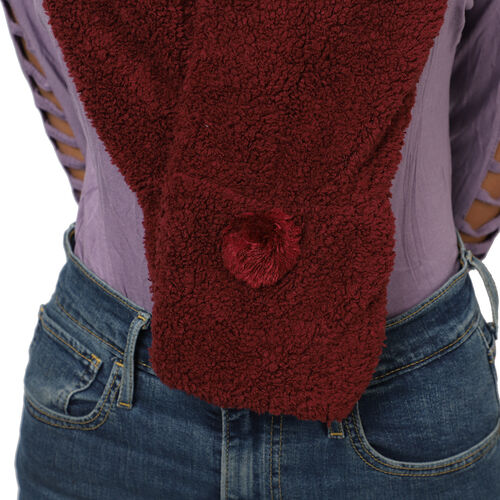 Winter Warm Soft Sherpa Hooded Scarf with Magnetic Button (Size Hood 27x30 Cm; Scarf 15x90 Cm) - Burgundy