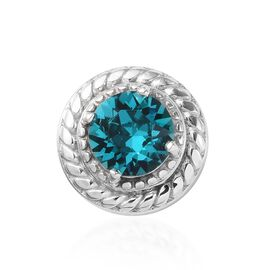 J Francis Crystal from Swarovski Blue Zircon Crystal and White Colour Crystal Charm in Platinum Over