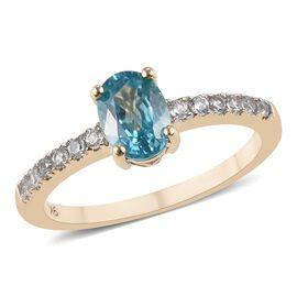 9K Yellow Gold AA Ratanakiri Blue Zircon (Ovl 7x5mm), Natural Cambodian Zircon Ring 1.45 Ct.