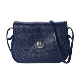 100% Genuine Leather Middle Size Litchi Pattern Crossbody Bag (Size 23x8x18cm) - Navy