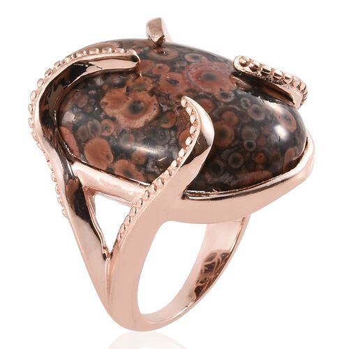 Poppy Jasper (Ovl 25x18 mm) Ring in Rose Gold Plated 21.500 Ct.