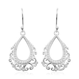 Drop Earring with Filigree Work in Sterling Silver