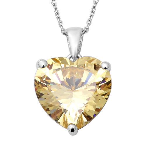 ELANZA Swiss Star Yellow Cubic Zirconia (Hrt 15 mm) Heart Pendant With Chain (Size 18) in Rhodium Ov