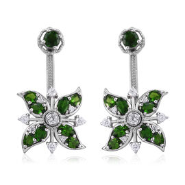 GP Russian Diopside (Rnd and Ovl), Natural Cambodian Zircon and Kanchanaburi Blue Sapphire Earrings in Platinum Overlay Sterling Silver 5.750 Ct, Silver wt 9.64 Gms