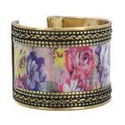 Meena Work Cuff Bangle in Antique Brass