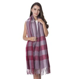 Designer Inspired- Wine Colour  Checker Pattern Scarf with Tassels (Size 203x63.5+11 Cm)