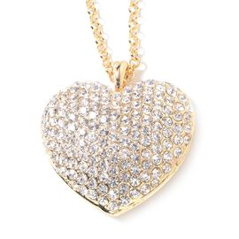 White Austrian Crystal (Rnd) Heart Necklace (Size 29) in Yellow Gold Tone