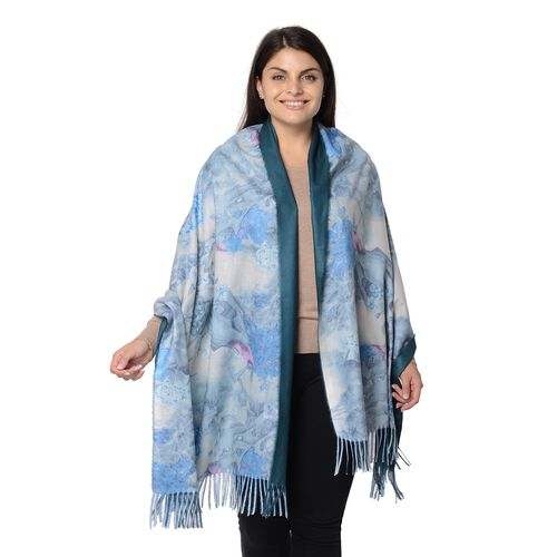 Reversible Digital Printed Peony Pattern Scarf with Tassel (Size 70x180 Cm) - Dark Green and Blue