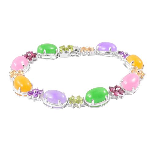 Limited Edition - Yellow, Green, Pink and Purple Jade (Ovl), Amethyst, Hebei Peridot and Multi GemStone Bracelet (Size 6.5) in Rhodium Plated Sterling Silver 51.000 Ct. Silver wt 15.30 Gms.