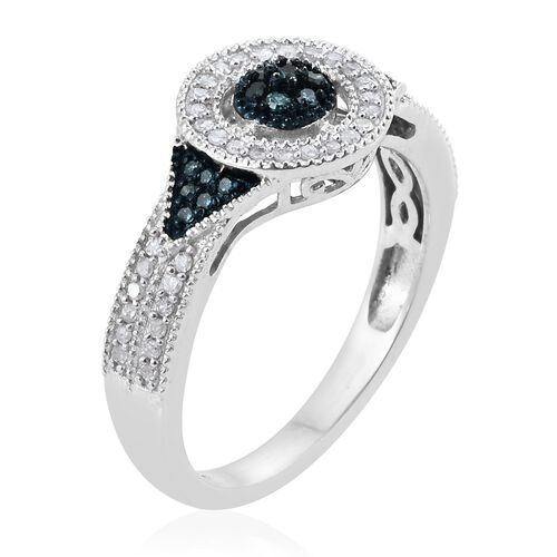 Blue Diamond (Rnd), White Diamond Ring in Platinum Overlay Sterling Silver 0.330 Ct.