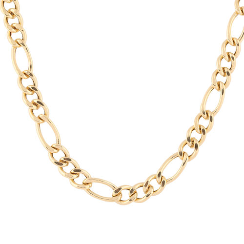 Italian Made - Gold Overlay Sterling Silver Figaro Chain, Sliver Wt. 12.96 Gms