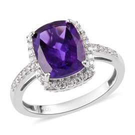 Amethyst and Natural Cambodian Zircon Ring in Platinum Overlay Sterling Silver 3.25 Ct.