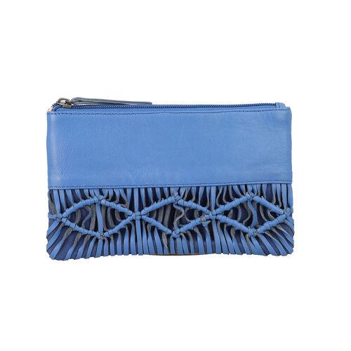 100% Genuine Leather Macrame Wallet (Size 21x13cm) -  Blue