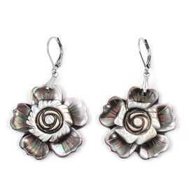 Black Shell Floral Earrings in Natural Stainless Steel
