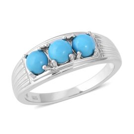 Arizona Sleeping Beauty Turquoise (Rnd) Trilogy Ring in Rhodium Overlay Sterling Silver 1.50 Ct.