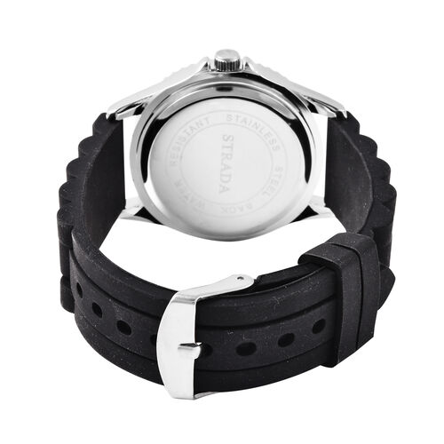 Set of 3 - STRADA Japanese Movement Watches - White, Black and Blue