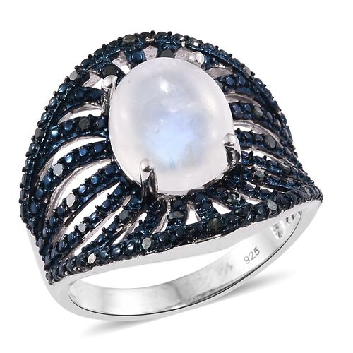 Designer Inspired Sri Lankan Rainbow Moonstone (Ovl 4.75 Cts), Blue Diamond (Rnd 0.25 Cts) Ring in Platinum Overlay Sterling Silver 5.000 Ct. Silver wt 6.33 Gms.