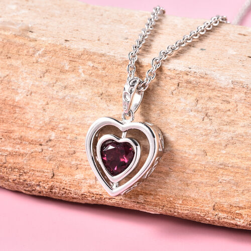 RACHEL GALLEY Rhodolite Garnet Heart Pendant with Chain (Size 20) in Rhodium Overlay Sterling Silver