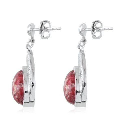 Norwegian Thulite (Pear) Earrings in Platinum Overlay Sterling Silver 7.750 Ct.