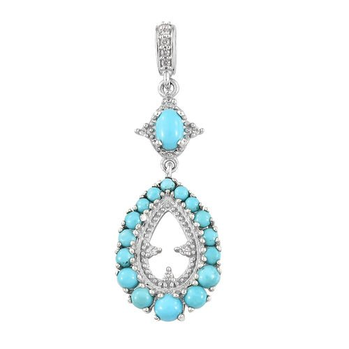 Arizona Sleeping Beauty Turquoise (Ovl and Rnd), Natural White Cambodian Zircon Pendant in Platinum Overlay Sterling Silver 2.000 Ct