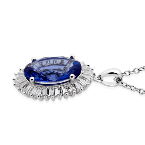 Simulated Tanzanite (Ovl 14x10 mm), Simulated Diamond Pendant in Silver Plated and Chain (Size 20) in Stainless Steel