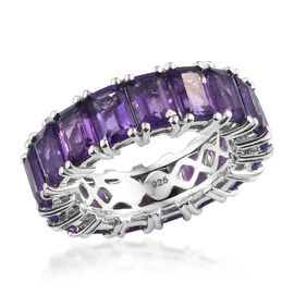 9.75 Ct Lusaka Amethyst Full Eternity Ring in Platinum Plated Sterling Silver