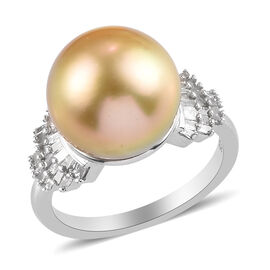 South Sea Pearl and Diamond Ring in Platinum Overlay Sterling Silver