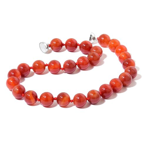 Hand Knotted Rare Size 16 MM Carnelian Beads Necklace (Size 20) with Magnetic Clasp in Rhodium Plated Sterling Silver 750.00 Ct.