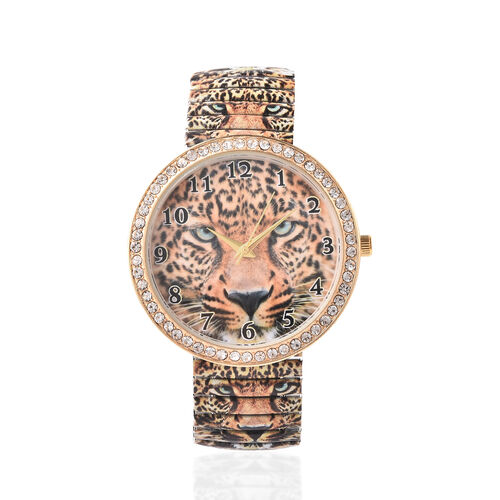 2 Piece Set - STRADA Japanese Movement White Austrian Crystal Studded Leopard Pattern Water Resistant Elastic Strap Watch (Size 6.5-7.5) and Artificial Crystal Filled Black Ink Pen in Coffee Colour