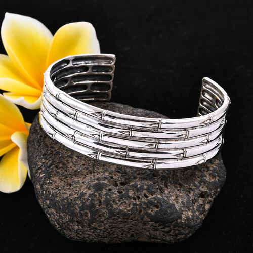 Royal Bali Collection - Sterling Silver Bamboo Cuff Bangle (Size 7.25), Silver wt 45.30 Gms
