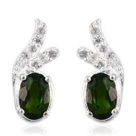 1 Carat Russian Diopside and Zircon Designer Earrings in Sterling Silver