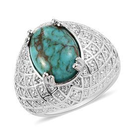 Turquoise and Diamond Ring in Silver Tone 6.00 Ct.