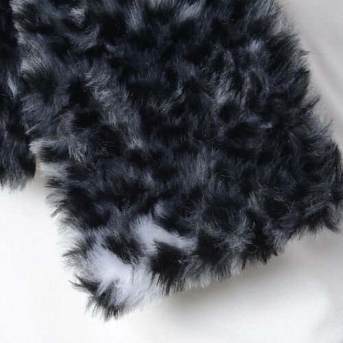 Black Colour Leaopard Skin Pattern Faux Fur Scarf and Hat (Size 36.22x22.84x4.53 Cm)