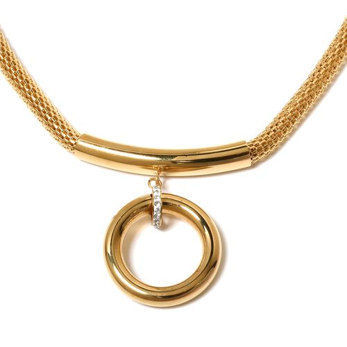 Designer Inspired-White Austrian Crystal Necklace (Size 19 with 2 inch Extender) in Yellow Gold Plated Stainless Steel.