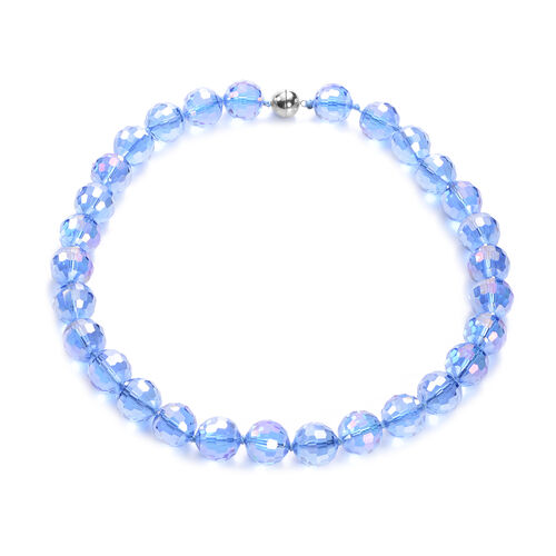 Simulated Blue Topaz Beaded Necklace (Size 20 with Magnetic Lock) in Stainless Steel