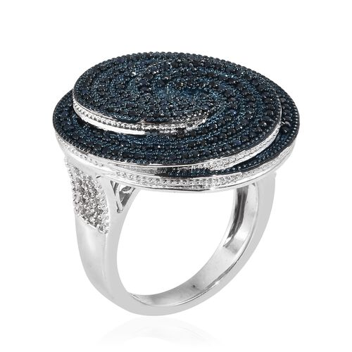 Kanchanaburi Blue Sapphire (Rnd), Natural Cambodian Zircon Spiral Ring in Platinum Overlay Sterling Silver 3.000 Ct. Silver wt 10.60 Gms. Number of Gemstone 218.