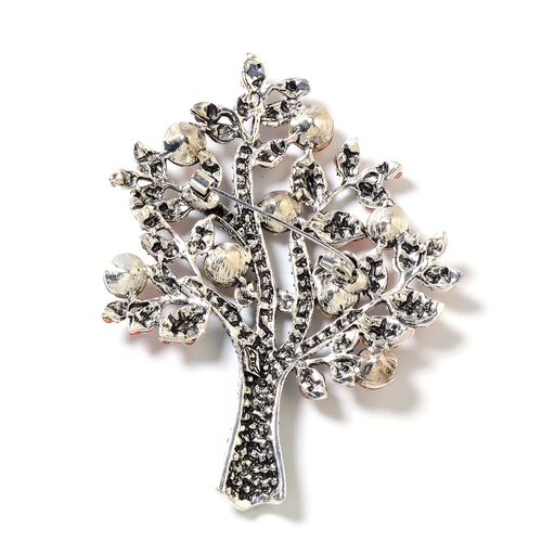 Simulated Champagne Diamond (Rnd),Green and Orange Austrian Crystal Tree of Life Brooch in Silver Plated