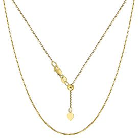 Adjustable Box Slider Chain in 14K Gold Plated Sterling Silver 24 Inch
