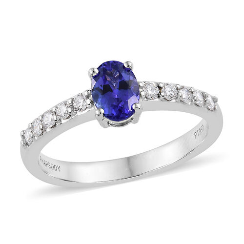 RHAPSODY 950 Platinum AA Tanzanite (Ovl), Diamond (VS/E-F) Ring 1.250 Ct