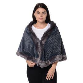 Stripe Pattern Super Soft Faux Fur Kimono with Fluffy Border (Size 65x55 Cm) - Grey
