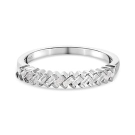 Diamond Band Ring in Platinum Overlay Sterling Silver 0.23 Ct.