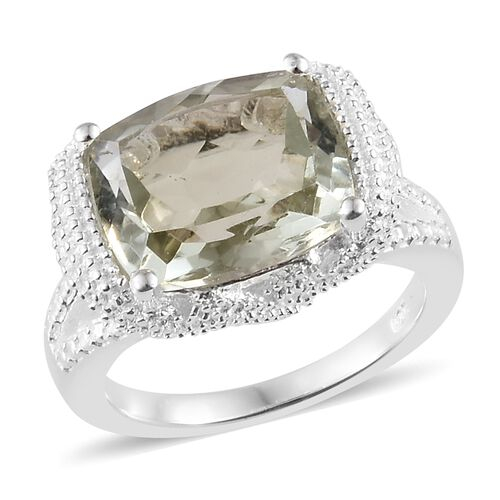 One Time Mega Deal-Green Amethyst (Cush) Ring in Sterling Silver 5.250 Ct.
